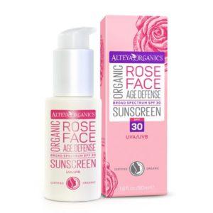 Organic Rose Face Sunscreen, SPF 30 (Alteya Organics)